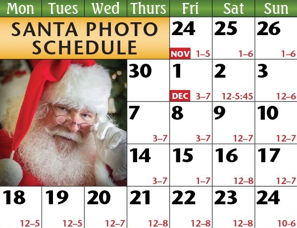 santa photo schedule